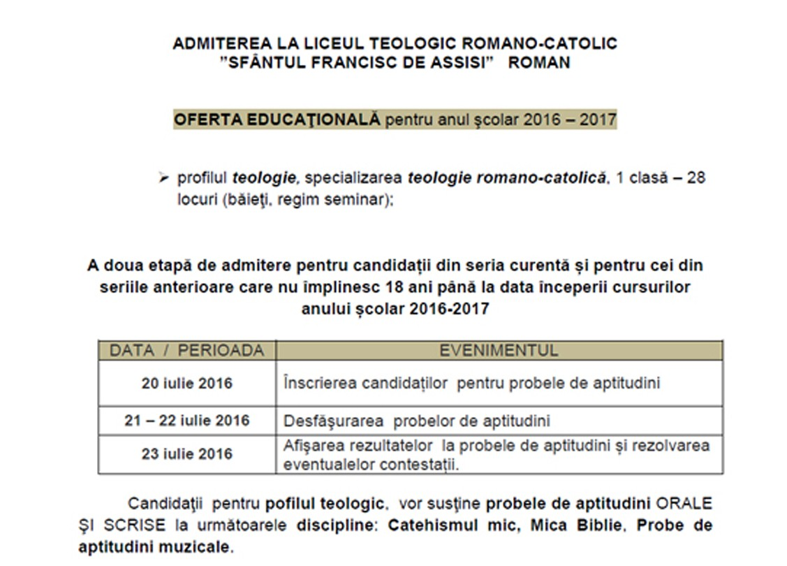 ADMITEREA LA LICEUL TEOLOGIC ROMANO-CATOLIC SF. FRANCISC DE ASSISI – ROMAN
