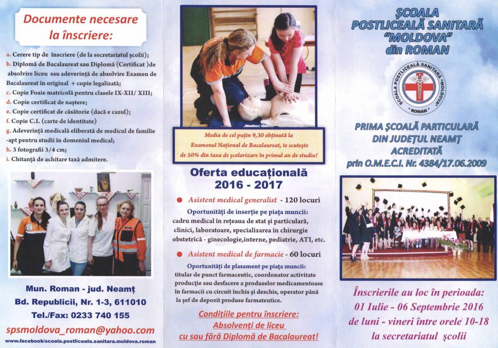 Oferta educationala Scoala Postliceala Sanitara Moldova