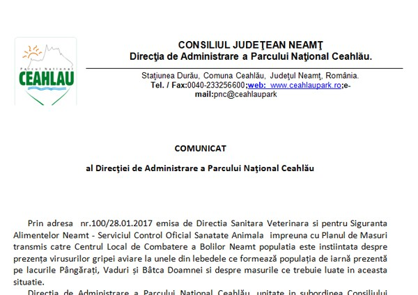 Gripa aviară confirmată oficial în județul Neamț!