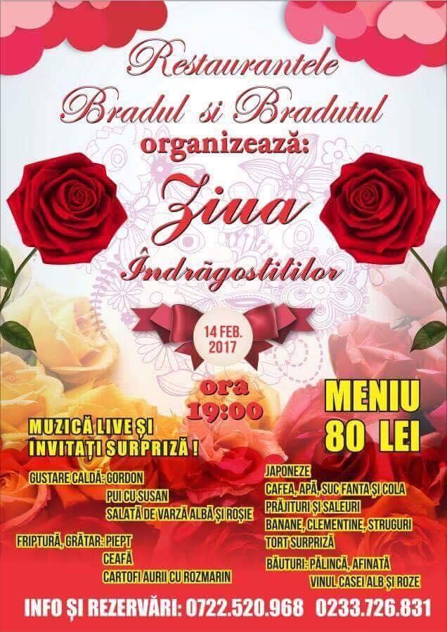 Restaurantele Bradul și Brăduțul, vă invită la evenimentul de Ziua Îndrăgostiților