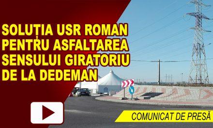 Soluția USR Roman pentru asfaltarea sensului giratoriu de la Dedeman