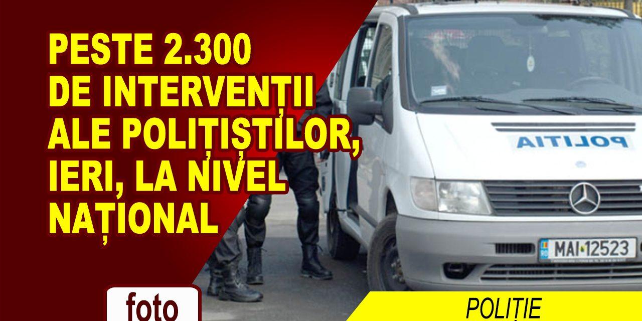 PESTE 2.300 DE INTERVENȚII ALE POLIȚIȘTILOR, IERI, LA NIVEL NAȚIONAL