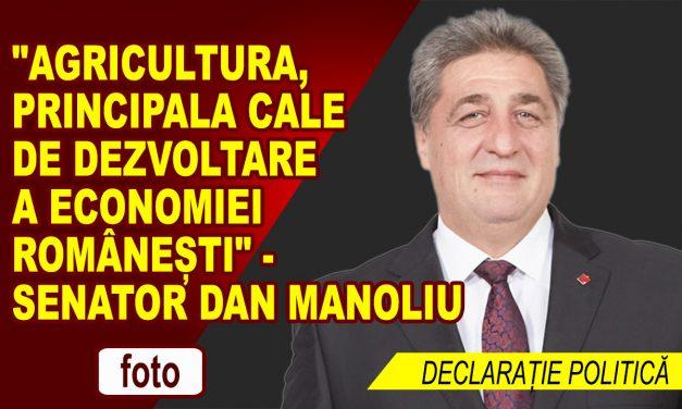 """""""Agricultura, principala cale de dezvoltare a economiei  Românești"""" – declaratie politica a Senatorului Dan Manoliu"""