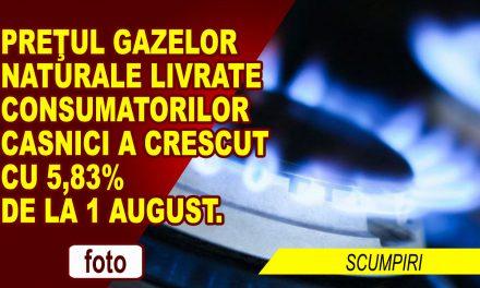 Preţul gazelor naturale livrate consumatorilor casnici creşte cu 5,83% de la 1 august. Cel puțin 10 lei, în plus, pe factură, în perioada de iarnă.