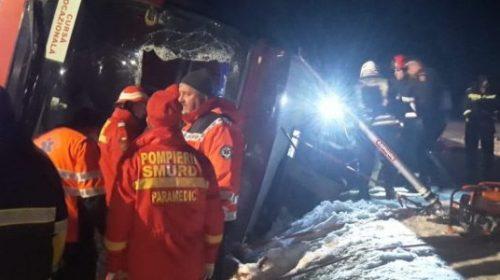 Vrancea: O persoană decedată şi şase rănite, după ce un autocar din R. Moldova s-a răsturnat la Mărăşeşti